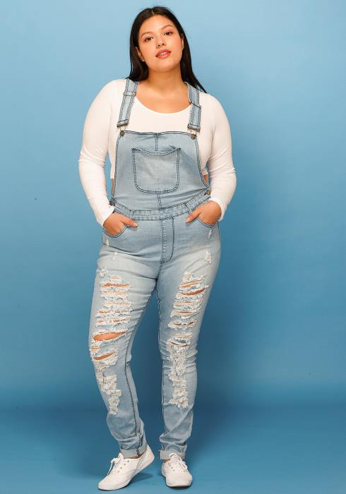 Asoph Plus Size Ripped Light Wash Denim Overalls