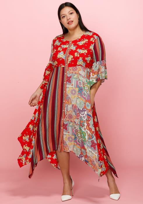 Asoph Plus Size Print Blosck Button Up Asymmetrical Hem Dress