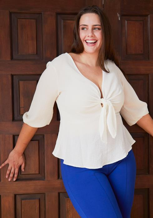 Asoph Plus Size Tie Front Flared Blouse