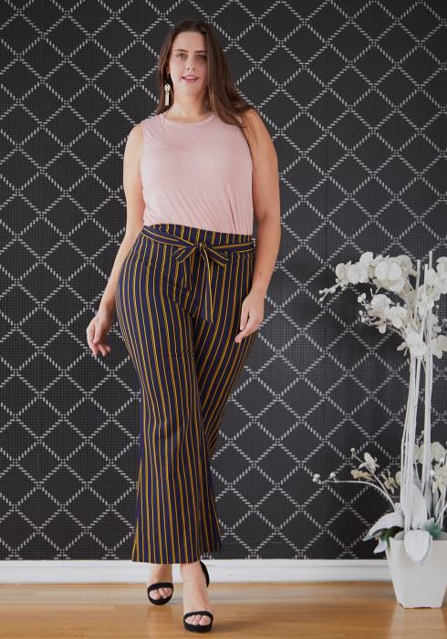 Asoph Plus Size Tie Waist Stripe Flared Pants