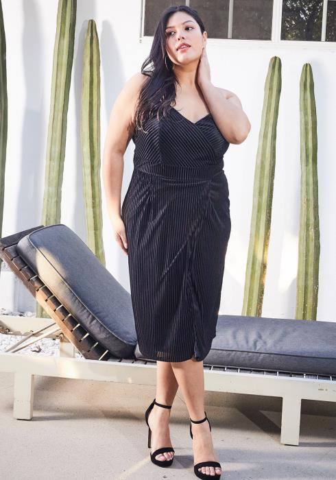 Asoph Plus Size Ribbed Velvet Wrap Dress