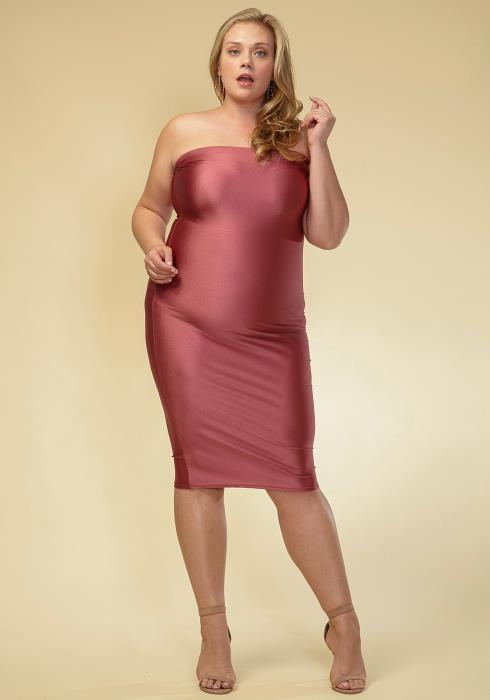 Asoph Plus Size Metallic Tube Top Dress Women Clothing