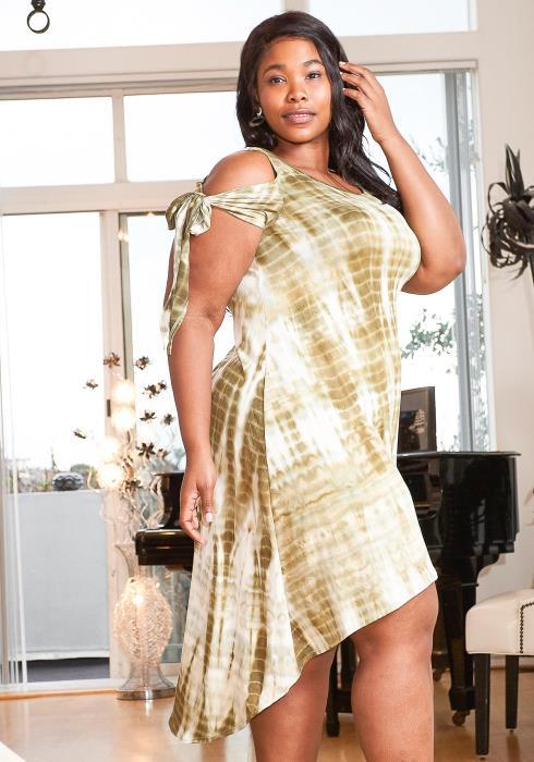 Asoph Plus Size Cold Shoulder Tie Dye Hi-Lo Dress
