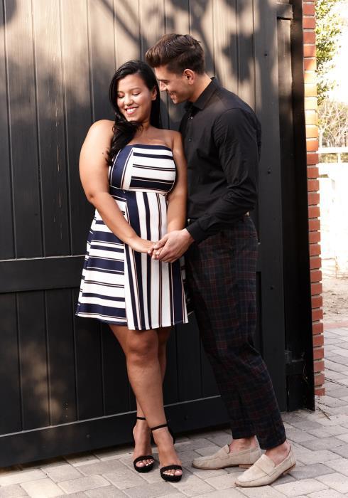 Asoph Plus Size Stripe Lovely Tube Top Flare Dress