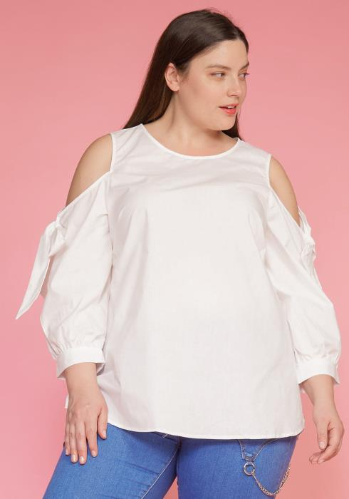 Asoph Plus Size Cold Shoulder Bow Sleeve Top