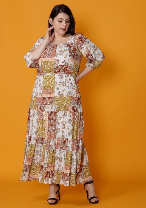 fe333590c01 Asoph Plus Size Multi Print Empire Maxi Beach Dress