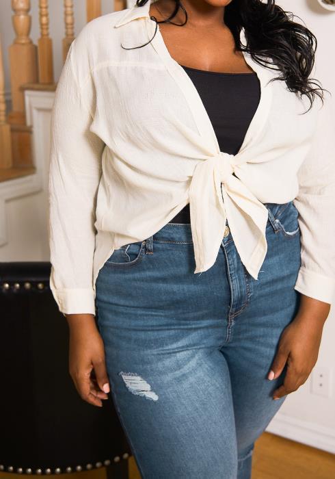 Asoph Plus Size Tie Hem Open Front Shirt