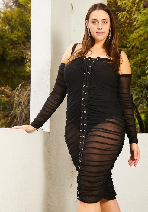 Asoph Plus Size Sexy Mesh Ruched Party Dress