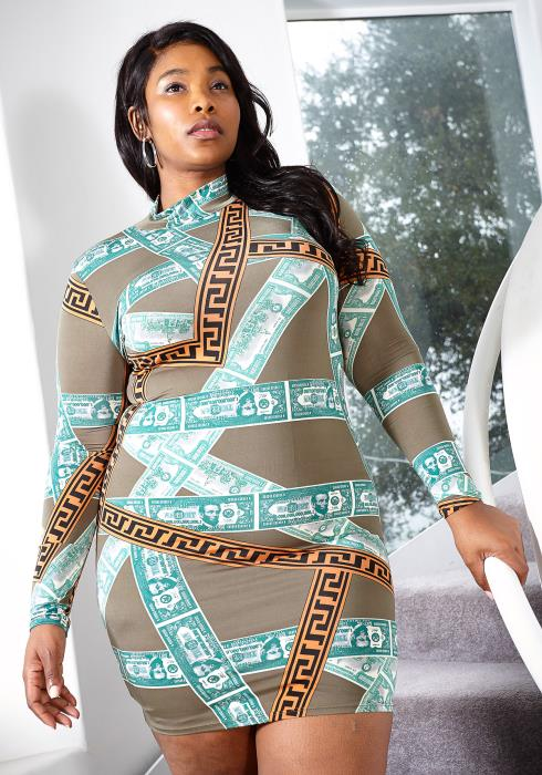 Asoph Plus Size Money Print Mock Neck Bodycon Mini dress
