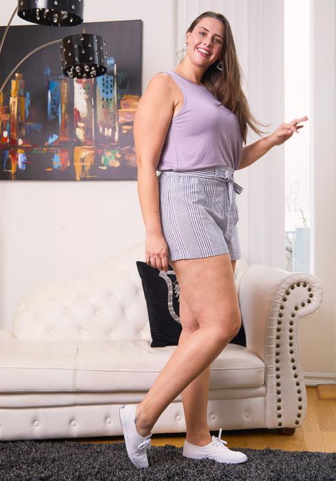 Asoph Plus Size Elastic Tie Waist Stripe Shorts