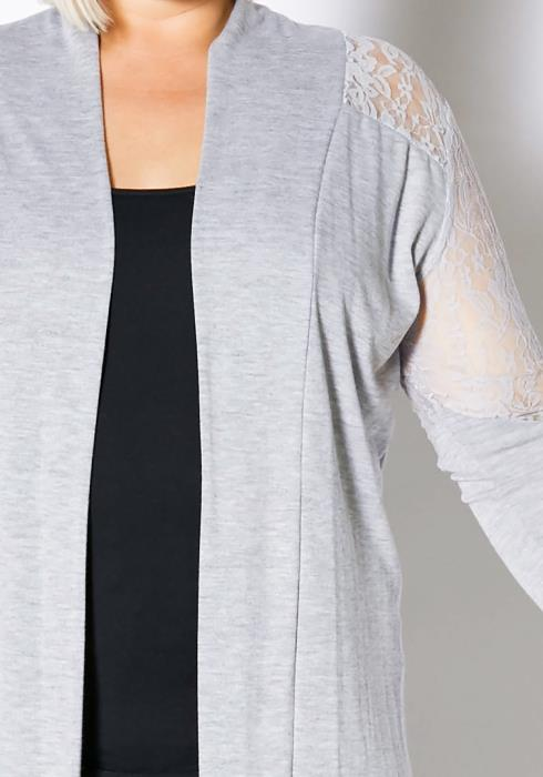 Asoph Plus Size Lace Trim Lightweight Cardigan
