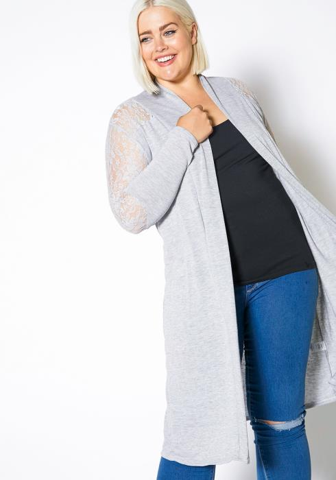 Asoph Plus Size Lace Trim Lightweight Cardigan
