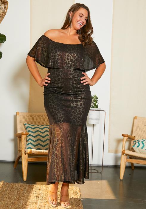 Asoph Plus Size Leopard Print Maxi Dress