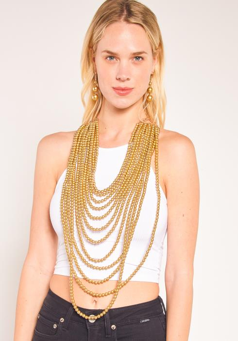 Sharona 12 Layer Pearl Necklace Earring Set