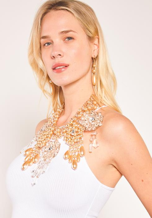 Sharona Pearl N Clear Ball Necklace Earring Set