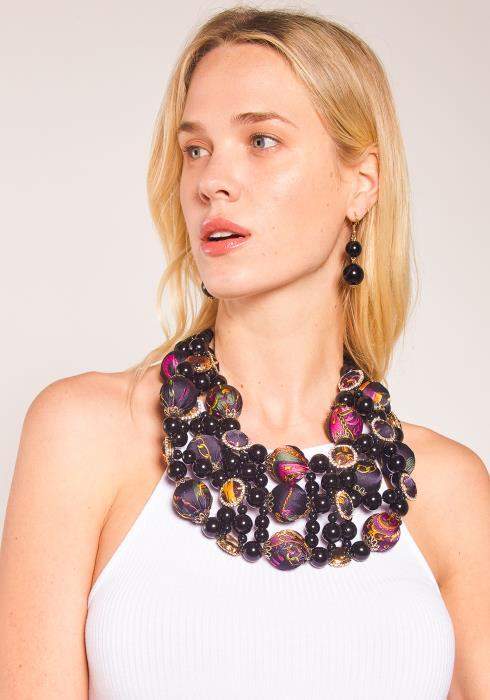 Sharona Black N Fabric Ball Necklace Earring Set