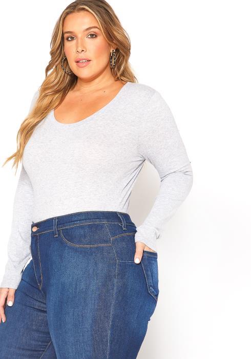 Asoph Plus Size Womens Basic Scoop Neck Long Sleeve Shirt