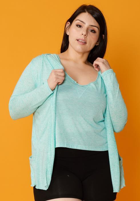 Asoph Plus Size Thin Hooded Cardigan