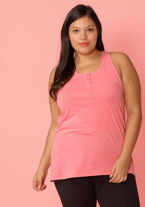 Asoph Plus Size Sleeveless Henley Button Up Tank