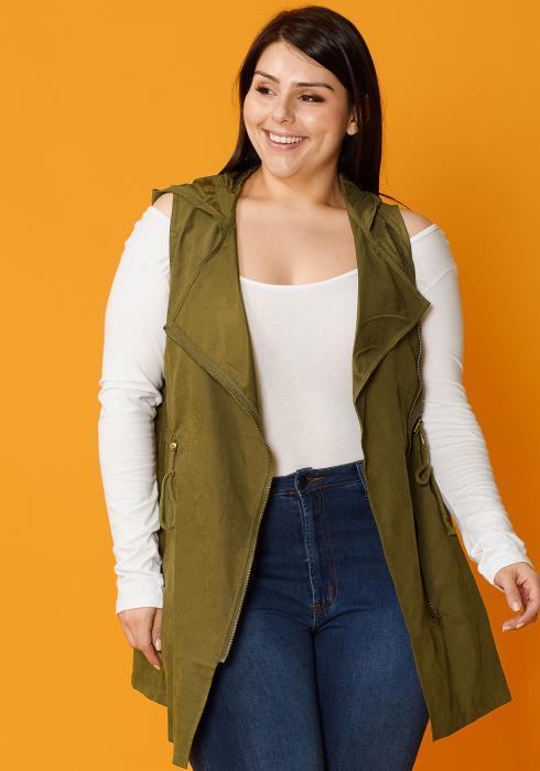 Asoph Plus Size Sleeveless Zip Up Vest