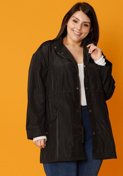 Asoph Plus Size Zip Up Jacket With Drawstring