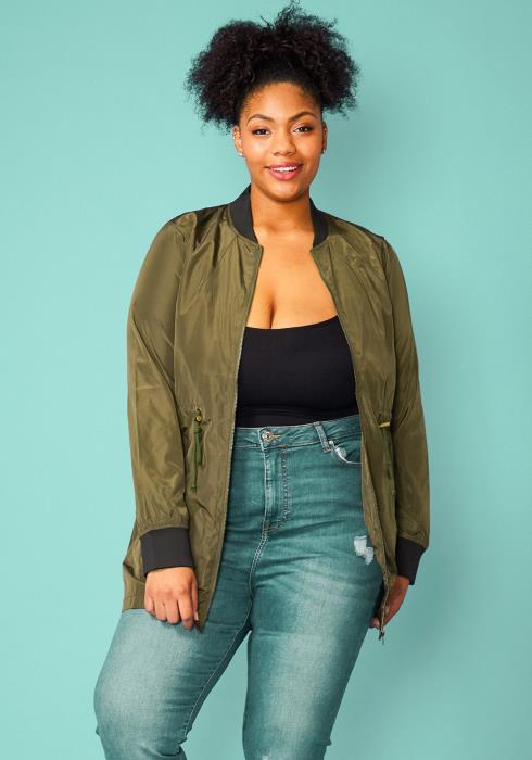 Asoph Plus Size Zip Up Ribbed Collar Jacket