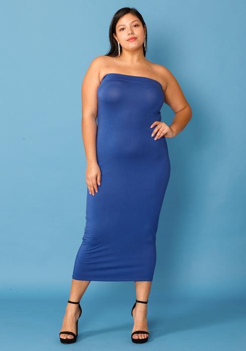 Plus Size Tube Top Bodycon Dress
