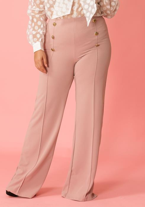 Plus Size Button Front Wide Leg High Waist Pants