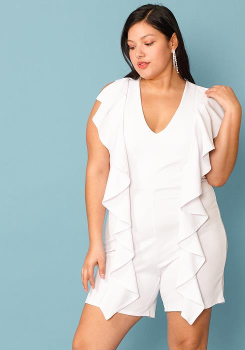 Plus Size  V-Neck Ruffle Front Sleeveless Romper