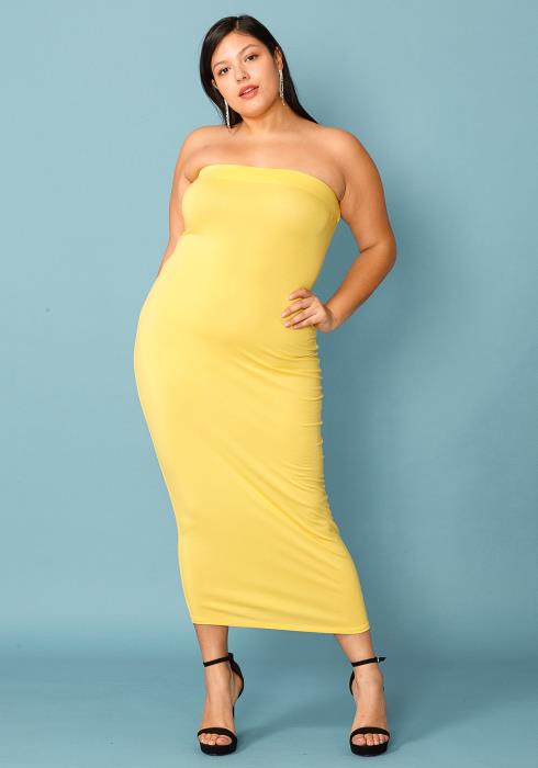 Plus Size Tube Top Bodycon Dress
