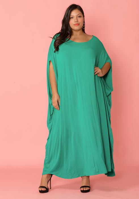 Plus Size  Batwing Sleeve Maxi Dress