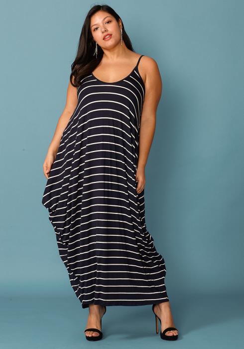 Plus Size Drappy Stripe Print Tank Maxi Dress