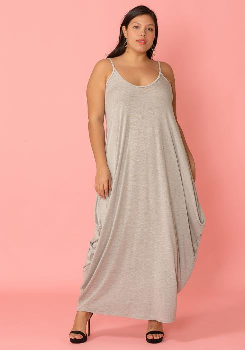Plus Size Drappy Solid Tank Maxi Dress