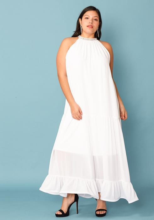 Plus Size Halter Neck Chiffon Maxi Dress