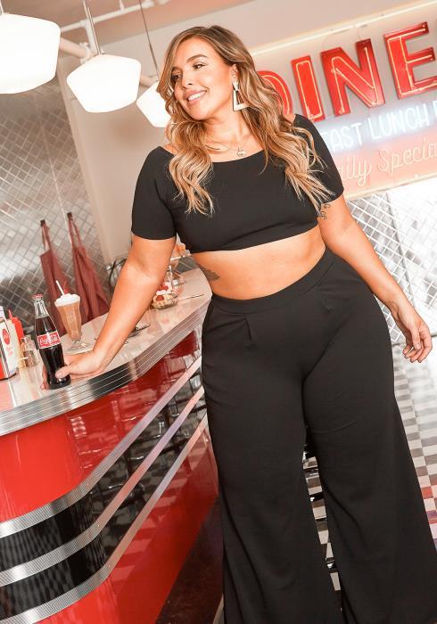 Asoph Plus Size Crop Top & Wide Pants Set