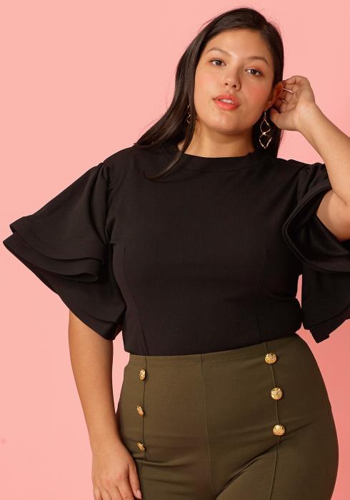 67dd66e162a Plus Size Layered Ruffle Sleeve Blouse