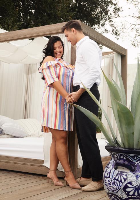 Asoph Plus Size Stripe Ruffle Button Down Dress
