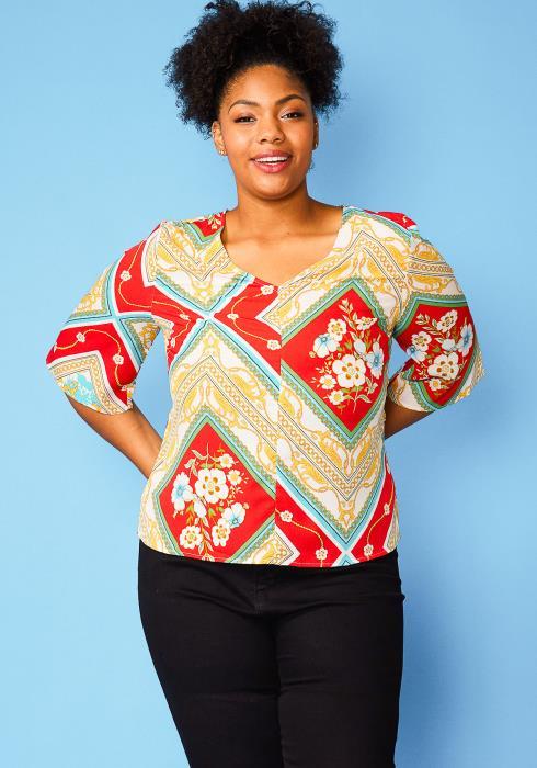 Asoph Plus Size Multi Print Tie Back Blouse