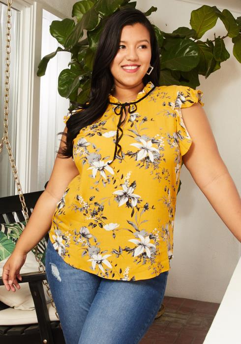 Asoph Plus Size Sleeveless Ruffle Tie Neck Blouse
