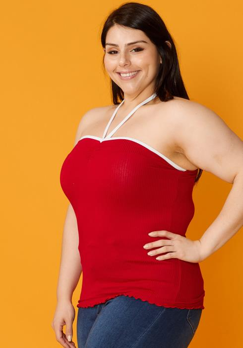 Asoph Plus Size Tied V Strap Ribbed Tube Top