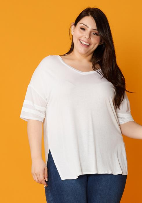Asoph Plus Size Sheer Mesh Sleeve Loose Tee