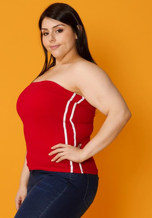 Asoph Plus Size Side Stripe Tube Top