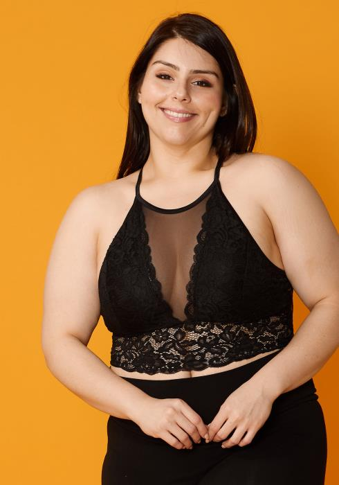 Asoph Plus Size Sheer Mesh & Lace Bralette