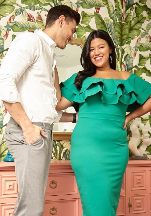 Asoph Plus Size Ruffle Shoulder Midi Party Dress