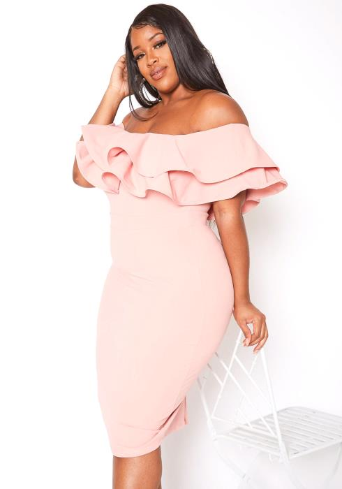 Asoph Plus Size Tiered Ruffle Off Shoulder Midi Party Dress