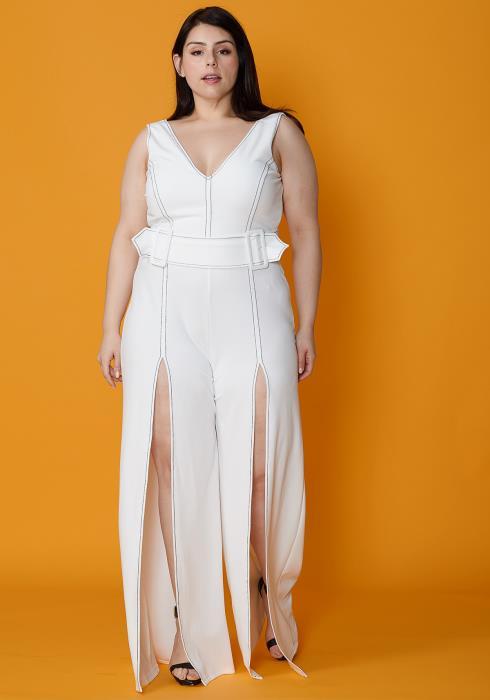Asoph Plus Size Slit Hem Jumpsuit With Belt
