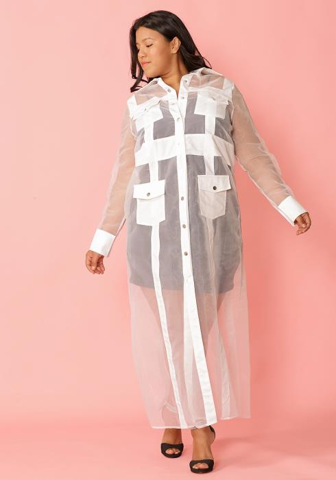 Asoph Plus Size Sheer Mesh Button Down Coat