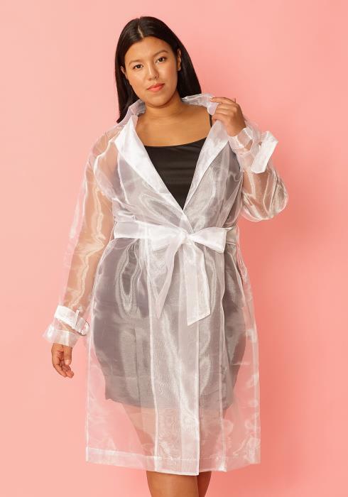 Asoph Plus Size Sheer Mesh Tie Waist Jacket