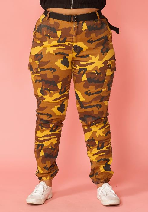 Asoph Plus Size Camo Print High Waist Pants With Belt