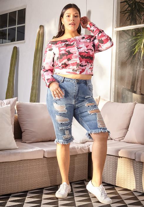 Asoph Plus Size Ripped Fringe Hem Shorts